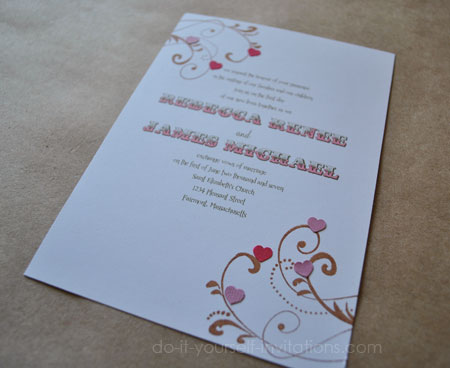 diy heart wedding invitations heart valentines and love themes