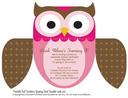 εκτυπώσιμη προσκλήσεις παιδιά γενεθλίων ροζ κουκουβάγια