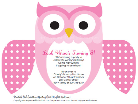 printable kids birthday invitations pink owl
