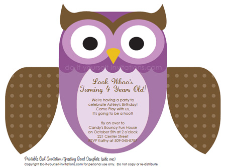 printable kids birthday invitations purple owl