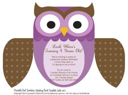 εκτυπώσιμη προσκλήσεις παιδιά γενεθλίων μοβ κουκουβάγια