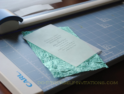 diy handmade paper wedding invitations Lay the papers on your work surface