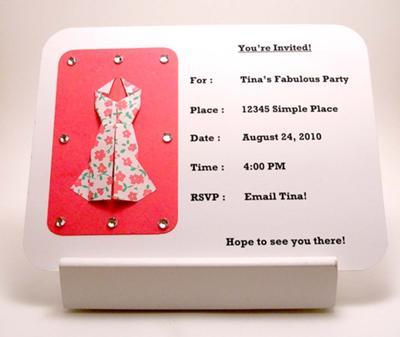 Origami Dress Invitation (front)