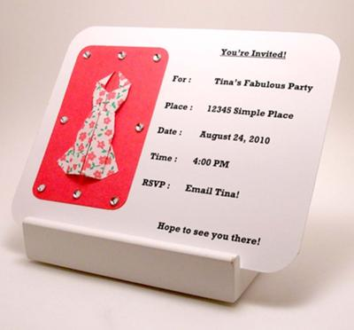 dress invitation by tina maryland usa origami dress invitation front