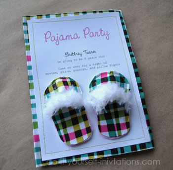 DIY Pajama Party Invitations Unique And Crafty Slipper Invitations