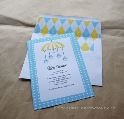 Printable Baby Shower Invitation Templates: Baby Birdy Mobile