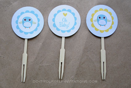 printable baby shower cupcake toppers bird