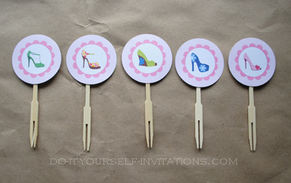 printable high heel stiletto birthday invitations cupcake toppers