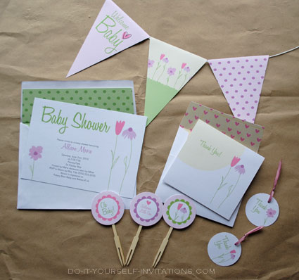 baby shower invitation templates: flower garden whimsy,