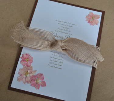 rustic pink and brown wedding invitations
