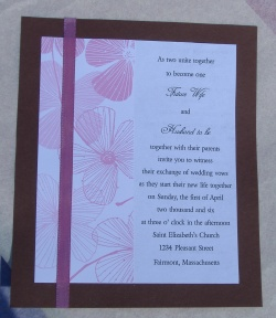 pink and brown wedding invitations with ribbon