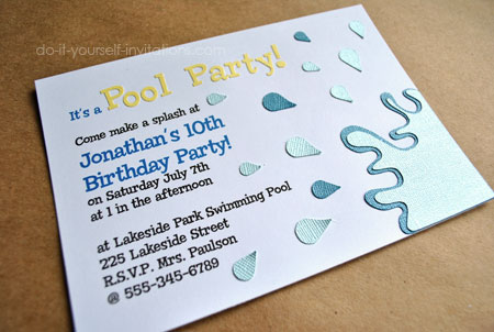 diy water pool party invitations