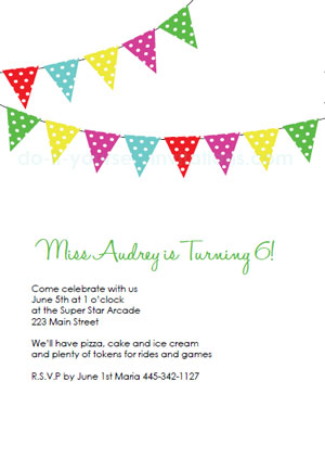 The cute and classic party banner birthday invitation! This design is ...