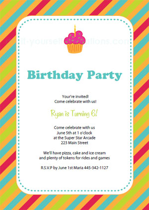 Printable Cupcake Birthday Invitations  Free 18th Birthday Invitation Templates