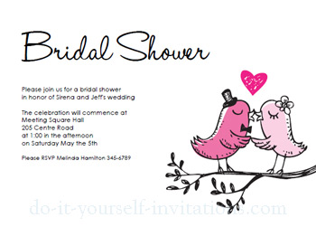 Charming Printable Bridal Shower Invitations Birds