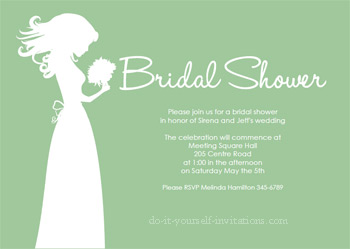 Printable Bridal Shower Invitations Green