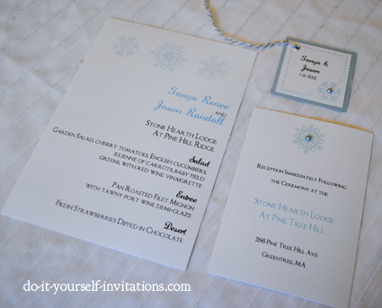 diy snowflake wedding invitations