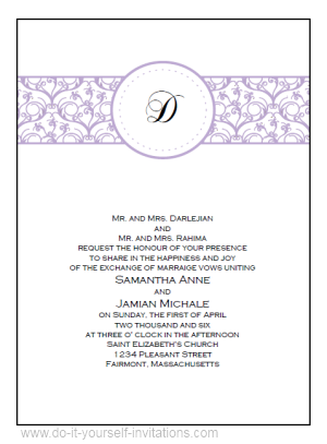 Free Printable Wedding Invitations:Monogram Wedding Invitation