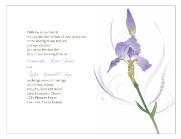 Iris Flower on Design Wedding Invitations Iris Flower