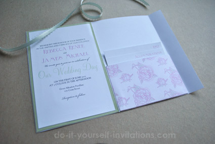 diy peony pocket invitations