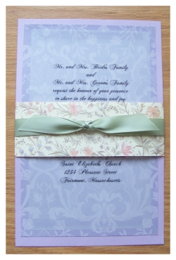 purple damask vellum wedding invitations w/ bellyband