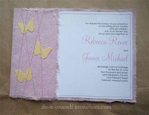 handmade paper butterfly wedding invitations