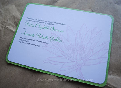free printable waterlily wedding invitations