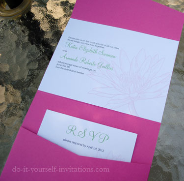 pink waterlily wedding invitations