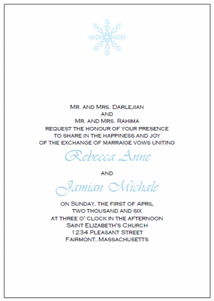 free printable snowflake wedding invitations