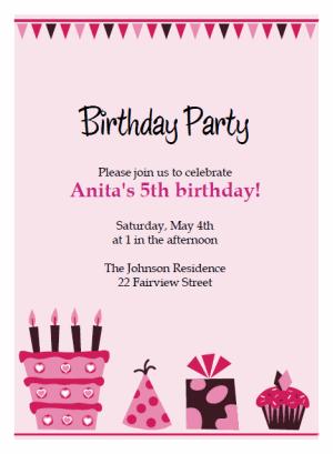 pink cake birthday party Invitations