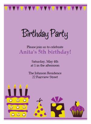 purple cake birthday party Invitations