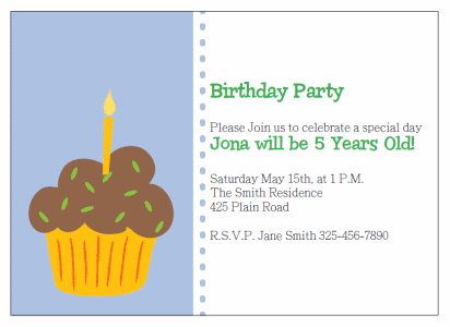 cupcake birthday party Invitations