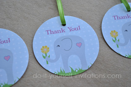 printable elephant baby shower favor tags