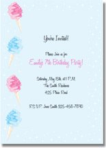 cotton candy printable birthday invitations