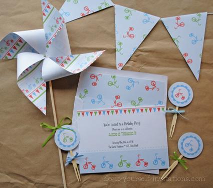 printable birthday invitations kits tricycle