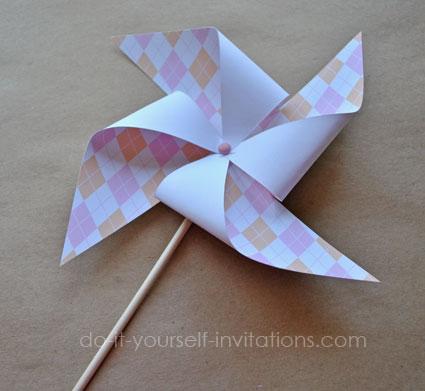 pink argyle printable baby shower pinwheels