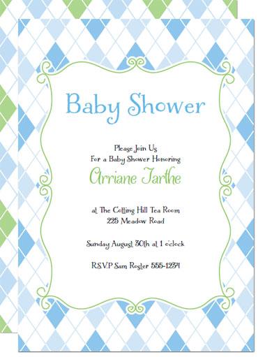 blue argyle printable baby shower invitations