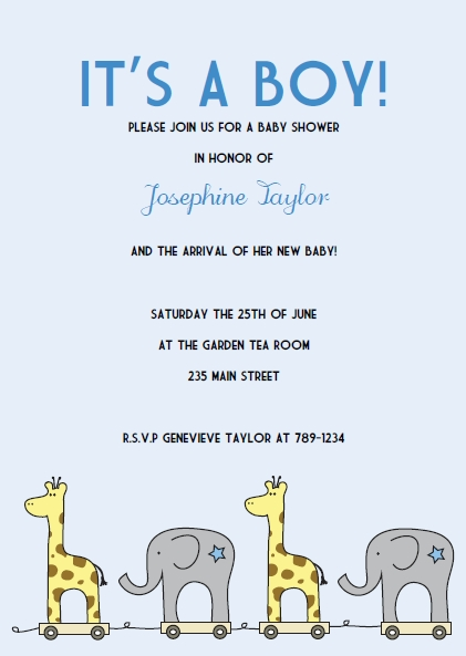 blue elephant giraffe baby shower invitations