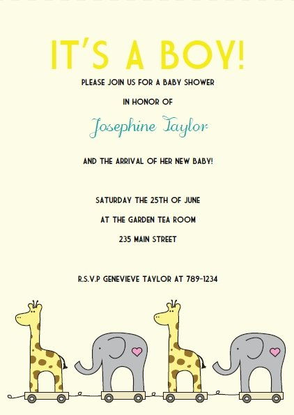 yellow elephant giraffe baby shower invitations