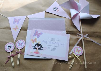 printableprincess party invitations kit