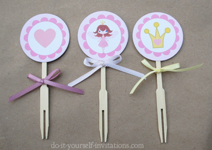 printable fairy princess cupcake toppers