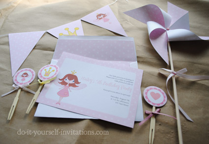 printableprincess party invitations kit