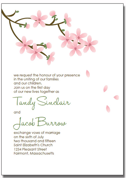apple blossom wedding invitations. Black Bedroom Furniture Sets. Home Design Ideas