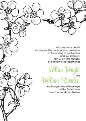 vintage cherry blossom wedding invitations