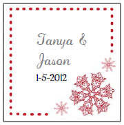 red snowflake favor tag