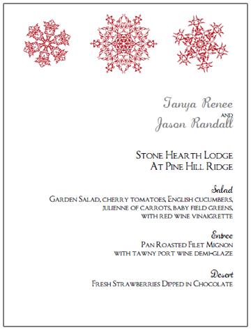 red snowflake wedding menu