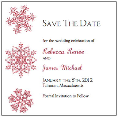 red snowflake Save The Dates