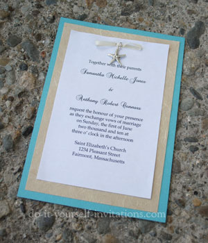 starfish charm beach theme wedding invitations