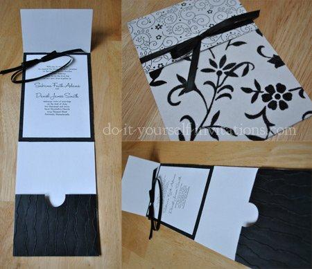 black and white wedding invitations diy ideas With black and white handmade wedding invitations