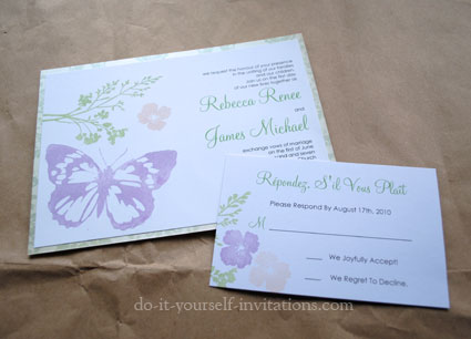 homemade butterfly wedding invitations
